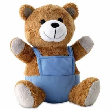 Knuffeldieren beer met blauwe verkleedkleren
