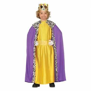 Koning mantel paars met geel verkleedverkleedkleren voor kinderen