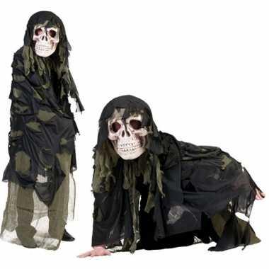 Legergroen doodshoofd spook verkleedkleren