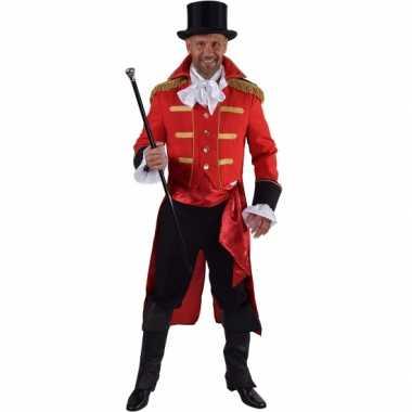 Luxe circus directeur verkleedkleren rood voor heren