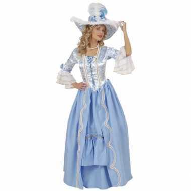 Luxe hofdame verkleedkleren blauw