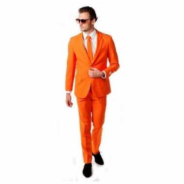 Luxe oranje verkleedkleren inclusief das