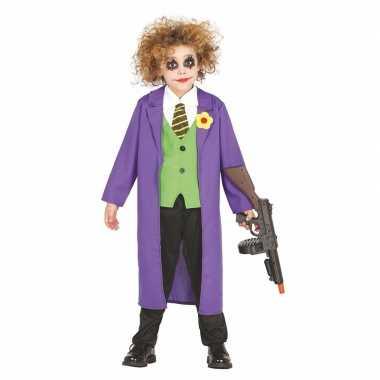 Luxe paarse horror clown joker verkleedkleren voor kinderen