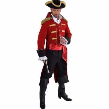 Luxe piraat verkleedkleren rood voor heren