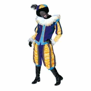 Luxe roetveeg pieten verkleedkleren geel/blauw voor dames en heren