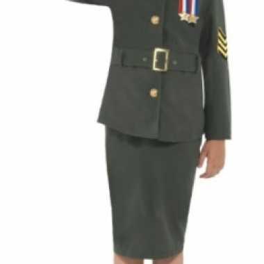 Meisjes army girl verkleedkleren groen