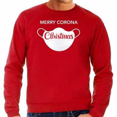 Merry corona christmas foute kerstsweater / verkleedkleren rood voor heren