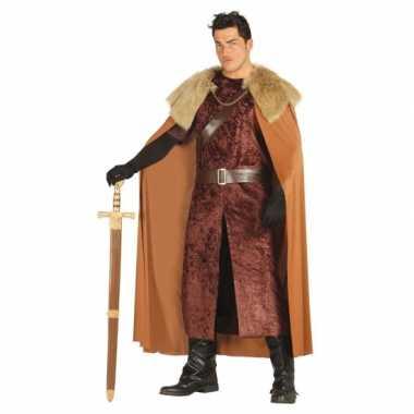 Middeleeuwse koning verkleedkleren bruin