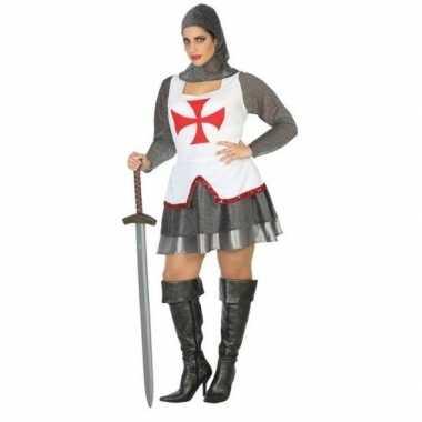 Middeleeuwse ridder verkleedkleren/jurk wit/rood voor dames