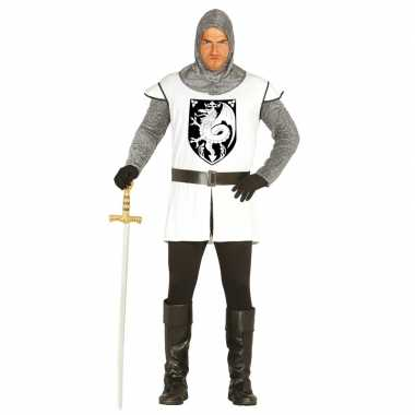 Middeleeuwse ridder verkleedkleren wit voor heren