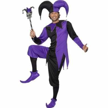 Narrenverkleedkleren zwart/paars voor heren