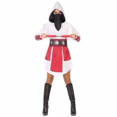 Ninja vechter verkleed jurk/verkleedkleren wit/rood voor dames