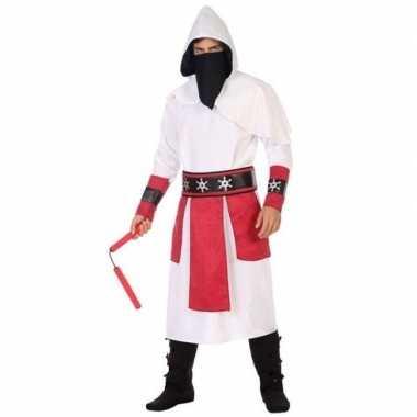 Ninja vechter verkleedkleren wit/rood voor heren