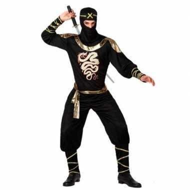 Ninja vechter verkleedkleren zwart/goud voor heren