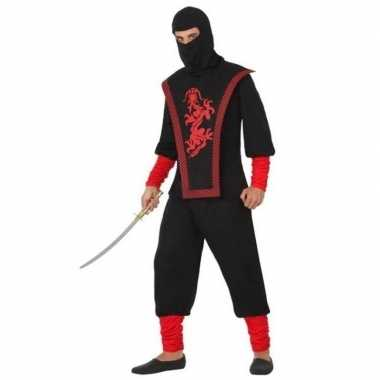 Ninja vechter verkleedkleren zwart/rood voor heren