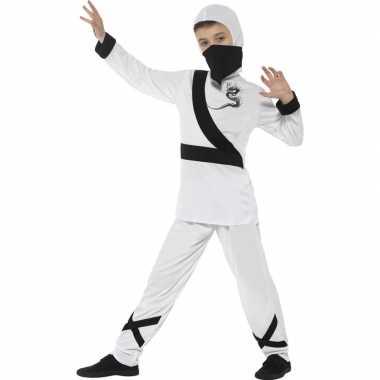 Ninja verkleedkleren wit/zwart voor kinderen