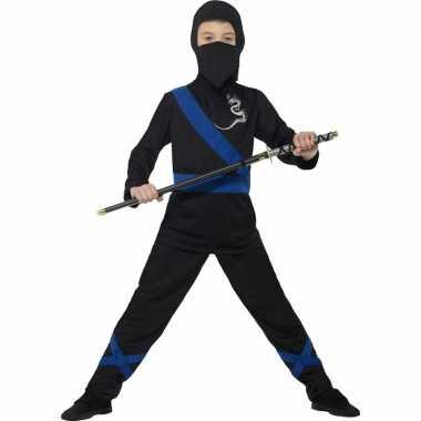 Ninja verkleedkleren zwart/blauw voor kinderen