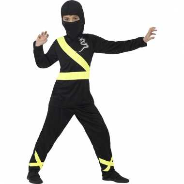 Ninja verkleedkleren zwart/geel voor kinderen