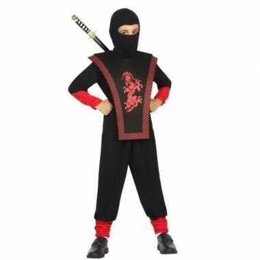 Ninja verkleedkleren zwart/rood voor jongens