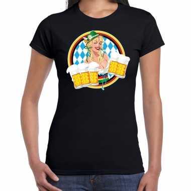 Oktoberfest / bierfeest drank fun t shirt / verkleedkleren zwart met beierse kleuren voor dames