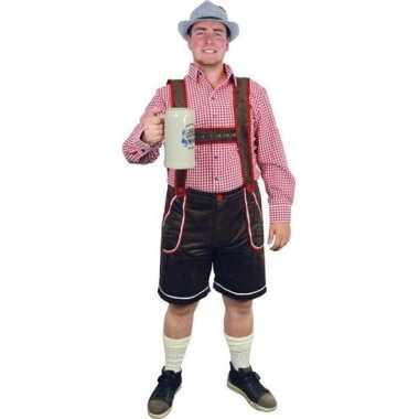 Oktoberfest bruine tiroler lederhosen verkleedkleren/broek voor heren
