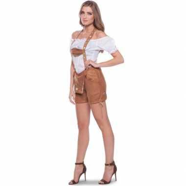 Oktoberfest bruine tiroler lederhosen verkleedkleren/broekje voor dam