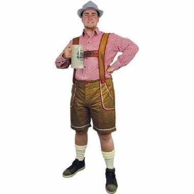 Oktoberfest lichtbruine tiroler lederhosen verkleedkleren/broek voor