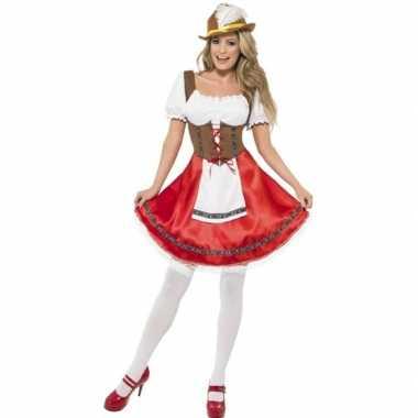 Oktoberfest rode/bruine tiroler dirndl verkleedkleren/jurkje voor dam