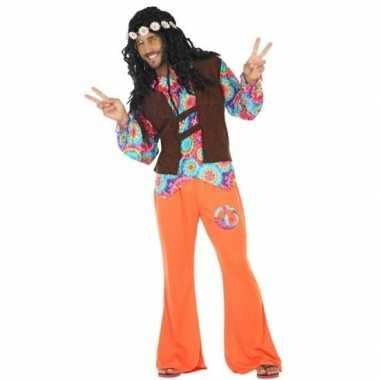 Oranje/bruin hippie/flower power verkleedkleren voor heren