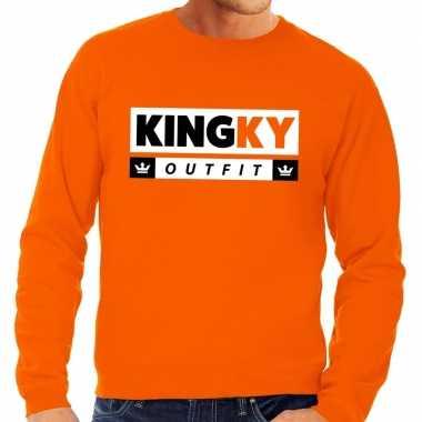 Oranje kingky verkleedkleren sweater voor heren