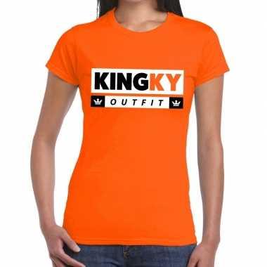 Oranje kingky verkleedkleren t shirt voor dames