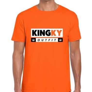 Oranje kingky verkleedkleren t shirt voor heren