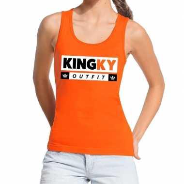 Oranje kingky verkleedkleren tanktop / mouwloos shirt voor dames