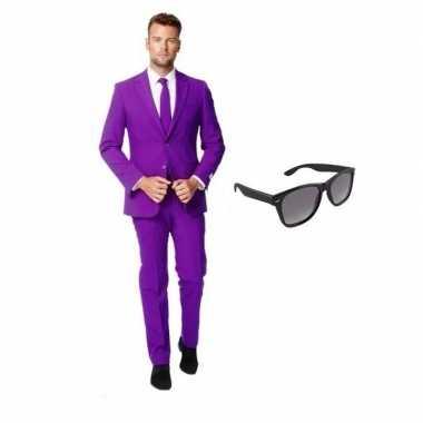 Paars heren verkleedkleren maat 52 (xl) met gratis zonnebril