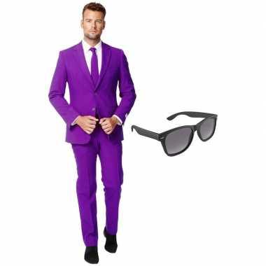Paars heren verkleedkleren maat 54 (xxl) met gratis zonnebril