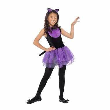 Paars/zwarte kat/poes verkleedkleren voor meiden