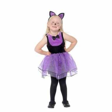 Paars/zwarte kat/poes verkleedkleren voor peuters