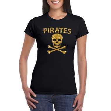 Piraten shirt / foute party verkleedkleren / verkleedkleren goud glitter zwart dames