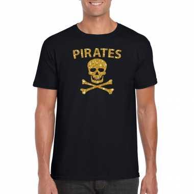 Piraten shirt / foute party verkleedkleren / verkleedkleren goud glitter zwart heren
