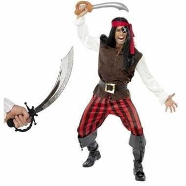 Piraten verkleedkleren met zwaard maat l voor volwassenen