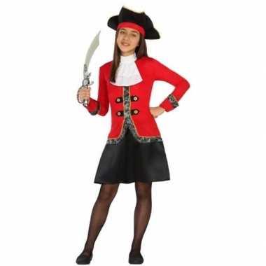 Piraten verkleedkleren rood/zwarte jurk voor meisjes