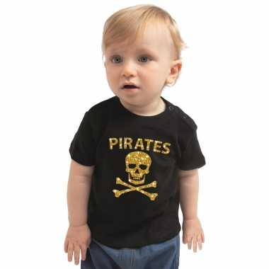 Piraten verkleedkleren shirt goud glitter zwart voor peuters