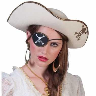 Piratenverkleedkleren accessoires witte piratenhoed met schedel
