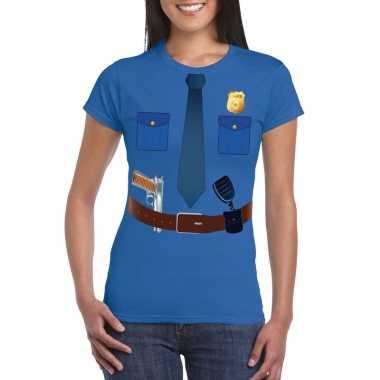 Politie uniform verkleedkleren t shirt blauw voor dames