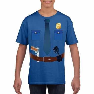 Politie uniform verkleedkleren t shirt blauw voor kinderen