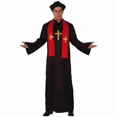 Priester verkleedkleren zwart met rood