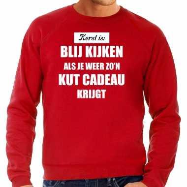 Rode foute kersttrui / sweater kerst is blij kijken / kut cadeau verkleedkleren heren