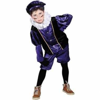 Roetveeg pieten verkleedkleren paars/zwart voor kinderen