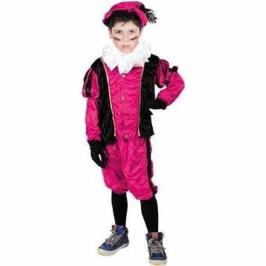 Roetveeg pieten verkleedkleren roze/zwart voor kinderen