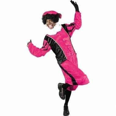 Roetveeg pieten verkleedkleren roze/zwart voor volwassenen